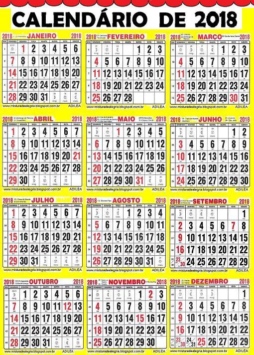 Calendario Grande.Calendario Grande 2018 Para Sala De Aula No Jeito De