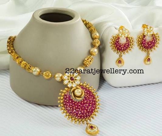 Gold balls Necklace with Flower Pendant