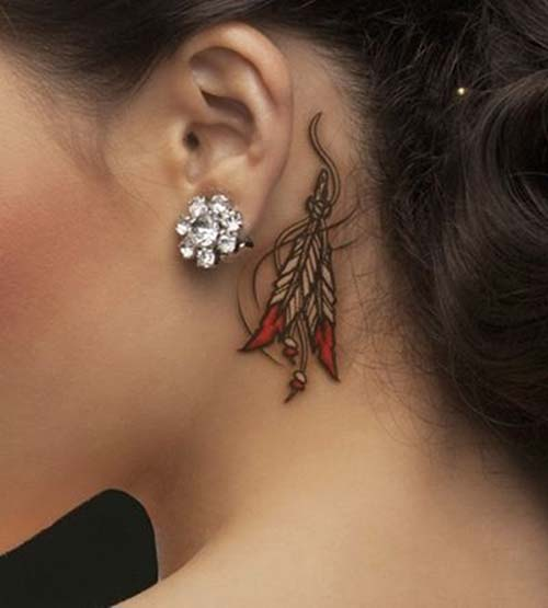kulak arkası kızılderili tüy dövmesi behind ear native amrican feather tattoo