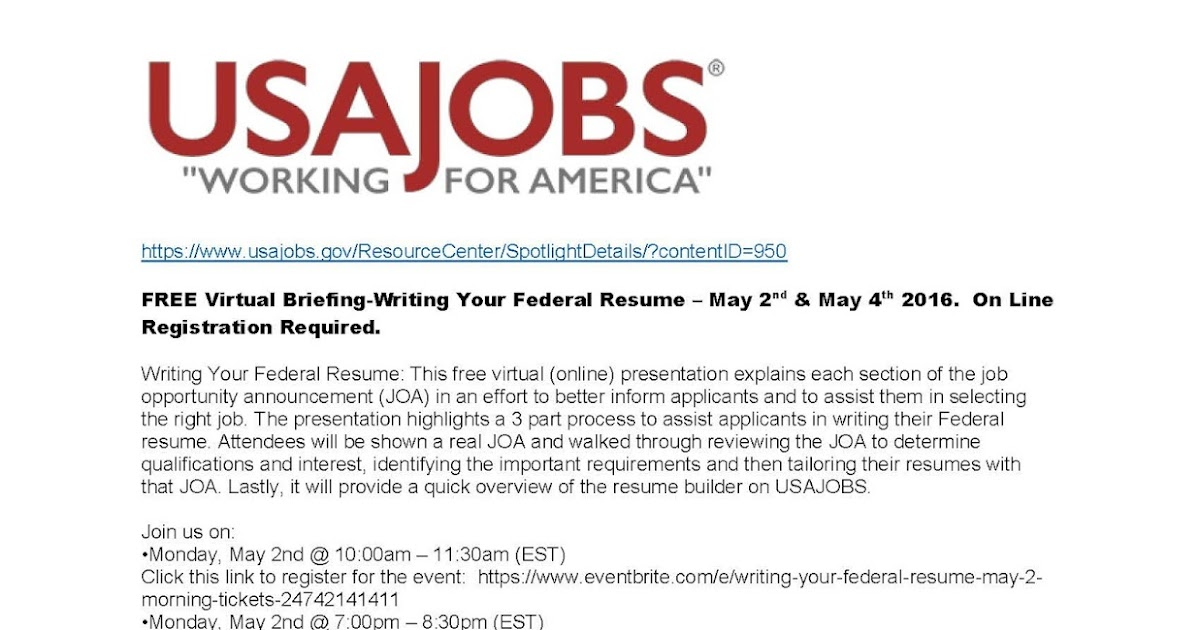 usajobs is hosting a free federal resume workshop online on may 2nd and 4th