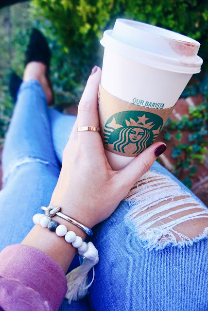Marble Beaded Bracelet and Starbucks Cup