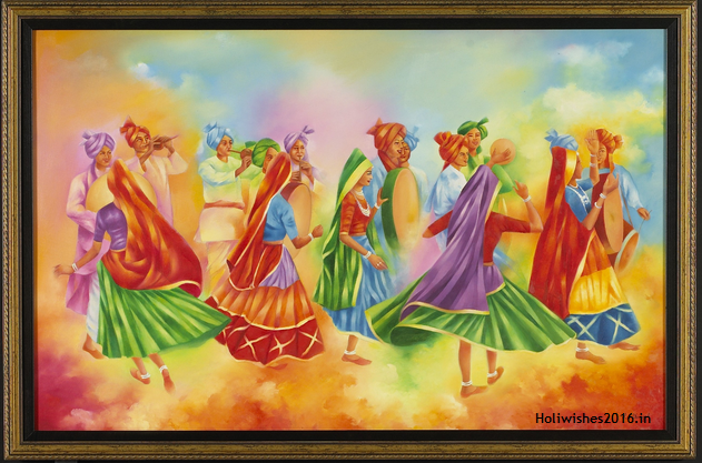 Holi festival paintings
