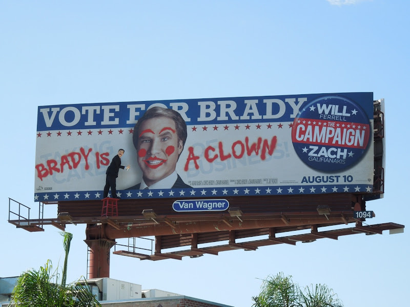 Campaign Brady clown special installation billboard