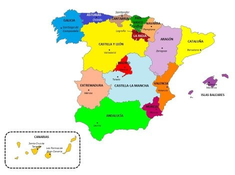 Spain Map with States