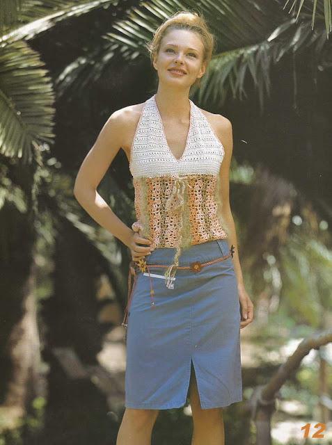 Patrón #851: Blusa Tropical a Crochet
