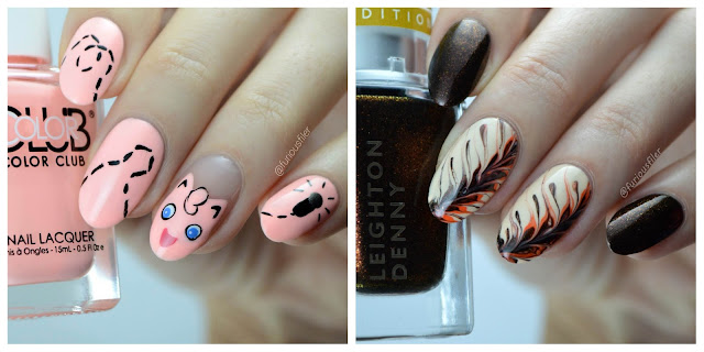 Pokemon jigglypuff nail art coffee pattern pumpkin spice