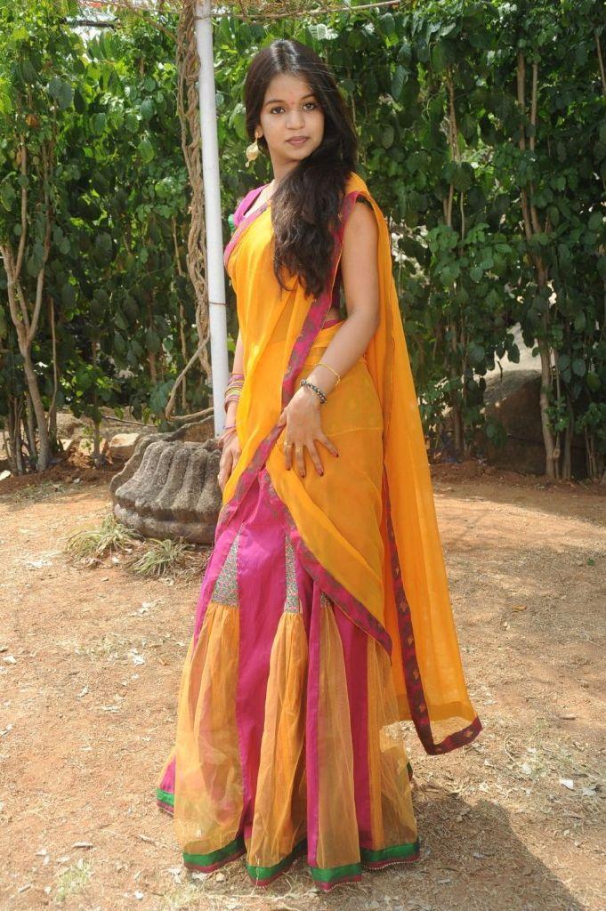 Bhavya New Telugu Actress Looking Cute in Half Saree Stills
