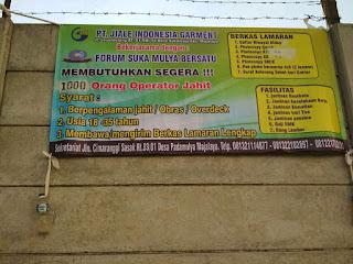 Info Lowongan Kerja Majalaya 2019 di Pabrik PT Jiale Indonesia Garment