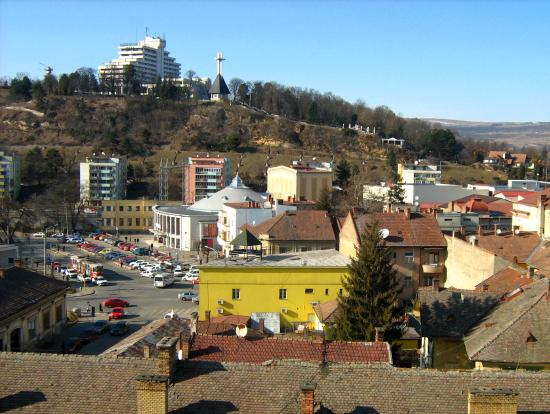 View of the Citadel  hill of Cluj-Napoca in the far background
