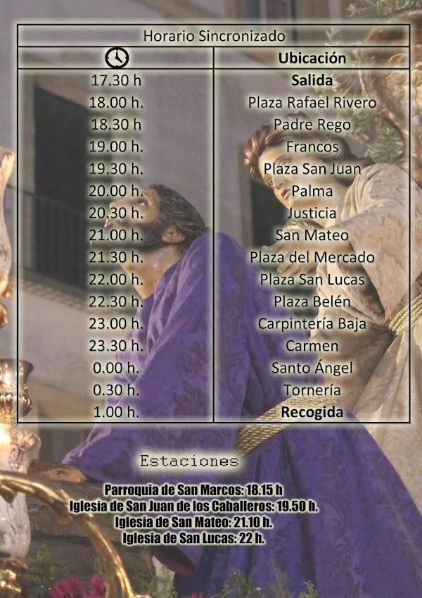 Horario Sincronizado de la Salida extraordinaria del Señor de la Oración en el Huerto de Jerez.