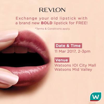Watsons Malaysia Free Revlon Bold Lipstick Giveaway