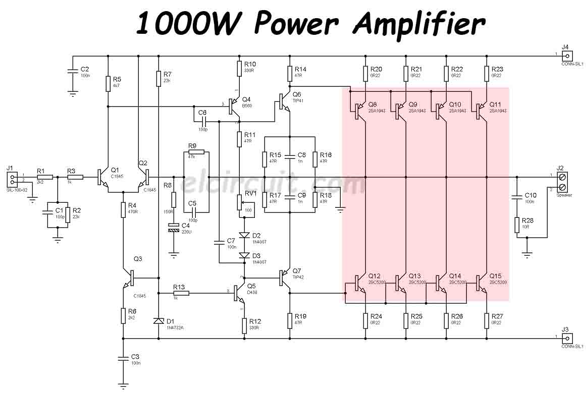 1000W Power Amplifier 2SC5200 2SA1943 - Electronic Circuit