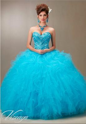 modelos de Vestidos de 15 Años Azul Turquesa