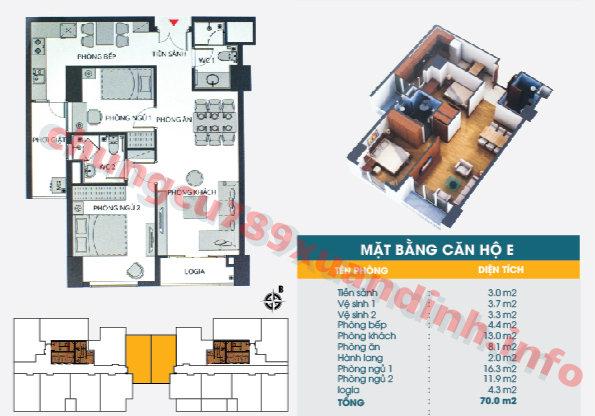 Thiết kế căn hộ 70m2 Chung cư 789 Xuân Đỉnh