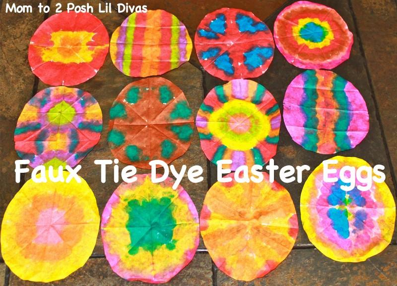 Mom To 2 Posh Lil Divas Faux Tie Dye Coffee Filter Easter Eggs