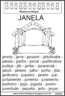 Fichas de leitura - letra J