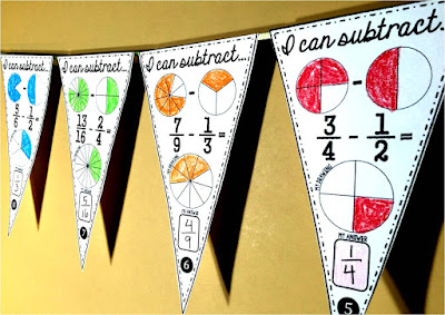 Fraction Subtraction Math pennant
