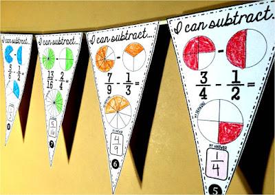 Fraction Subtraction Math pennant