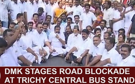 DMK stages road blockade at Trichy Central Bus Stand