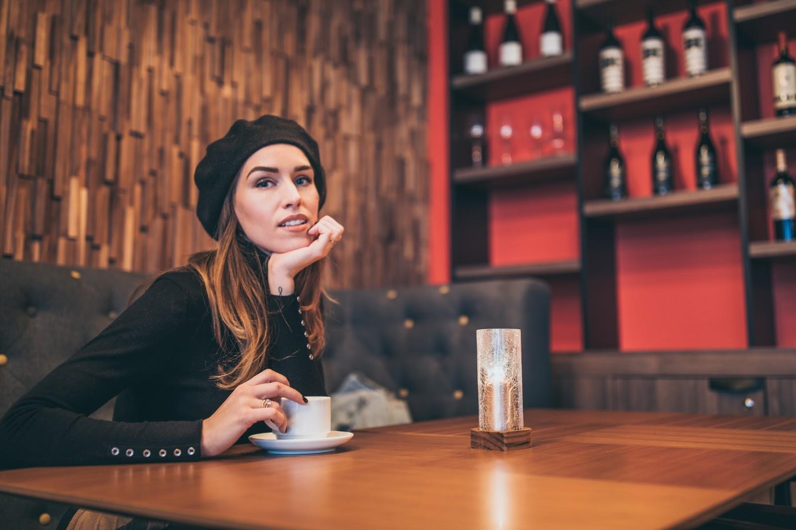 girl coffee black beret
