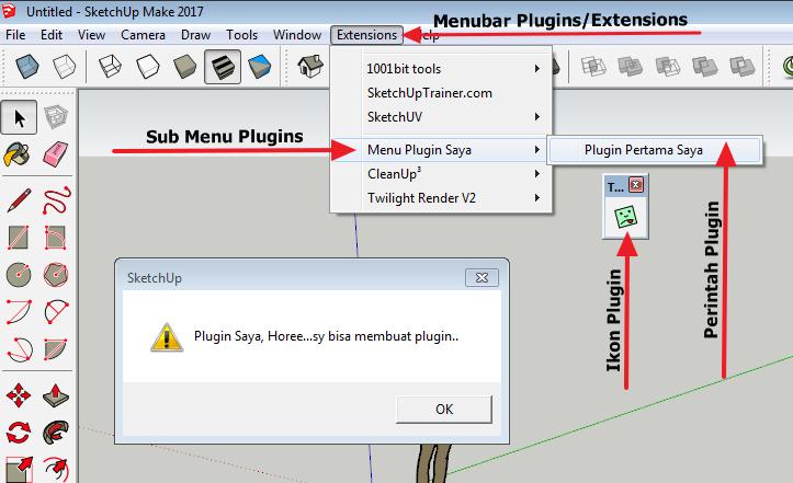 Cara membuat Plugin/Extension SketchUp - Bagian 2: Menubar