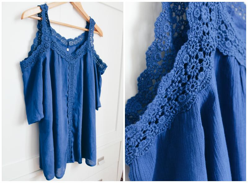 blusa azul hombros al aire blogger de moda