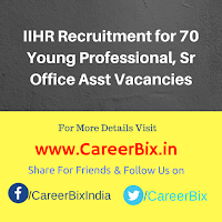 IIHR Recruitment for 70 Young Professional, Sr Office Asst Vacancies