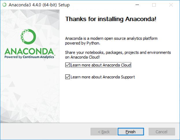Anaconda3 설치 - 마침내 Finish