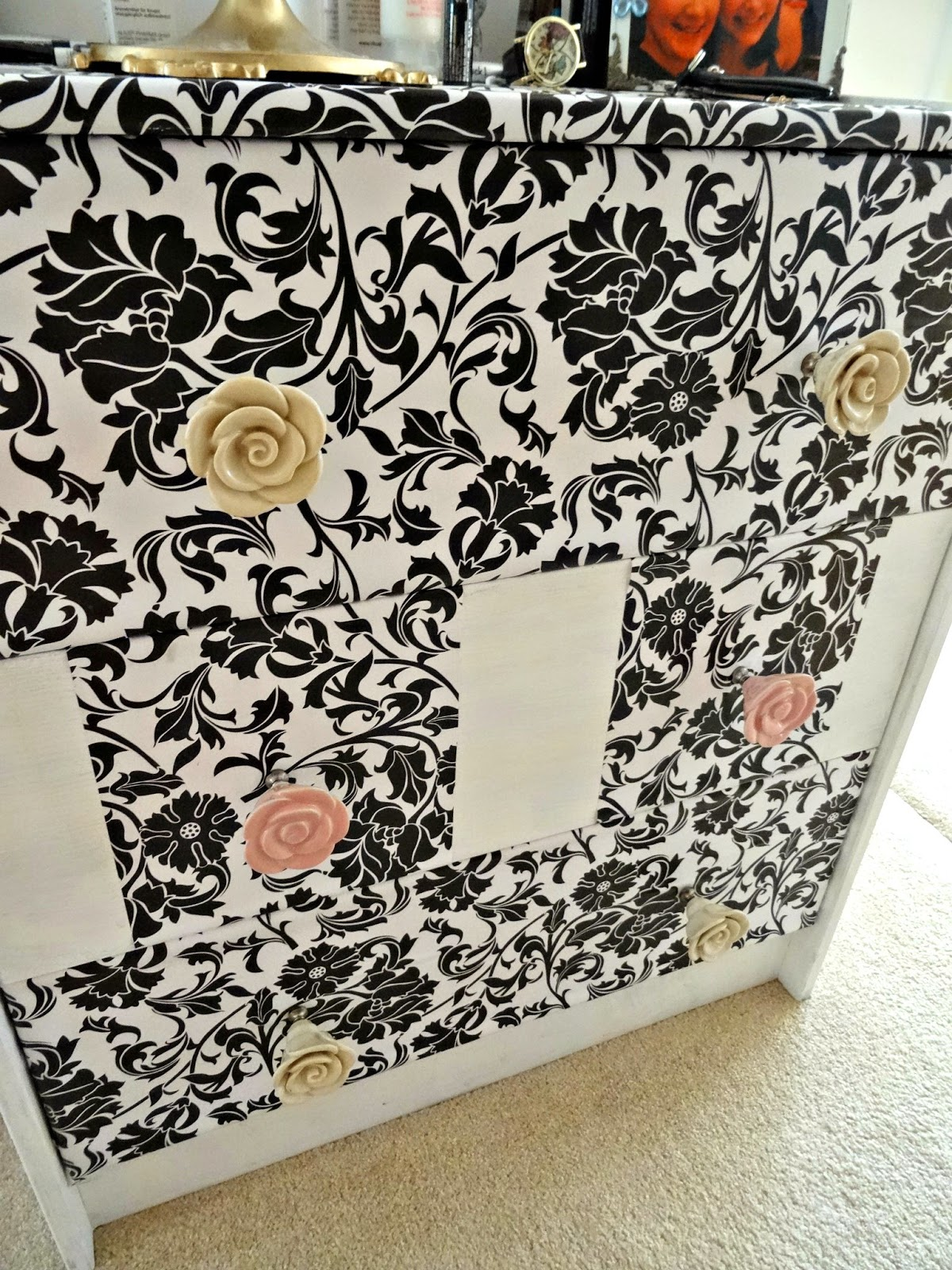 DIY chest of drawers with adhesive foil