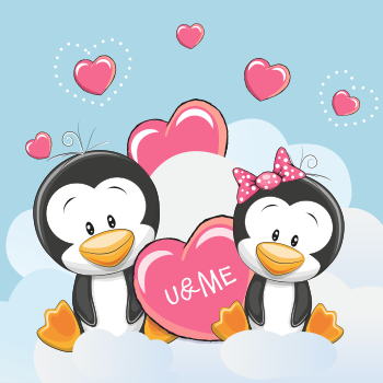 Penguin love in the couds