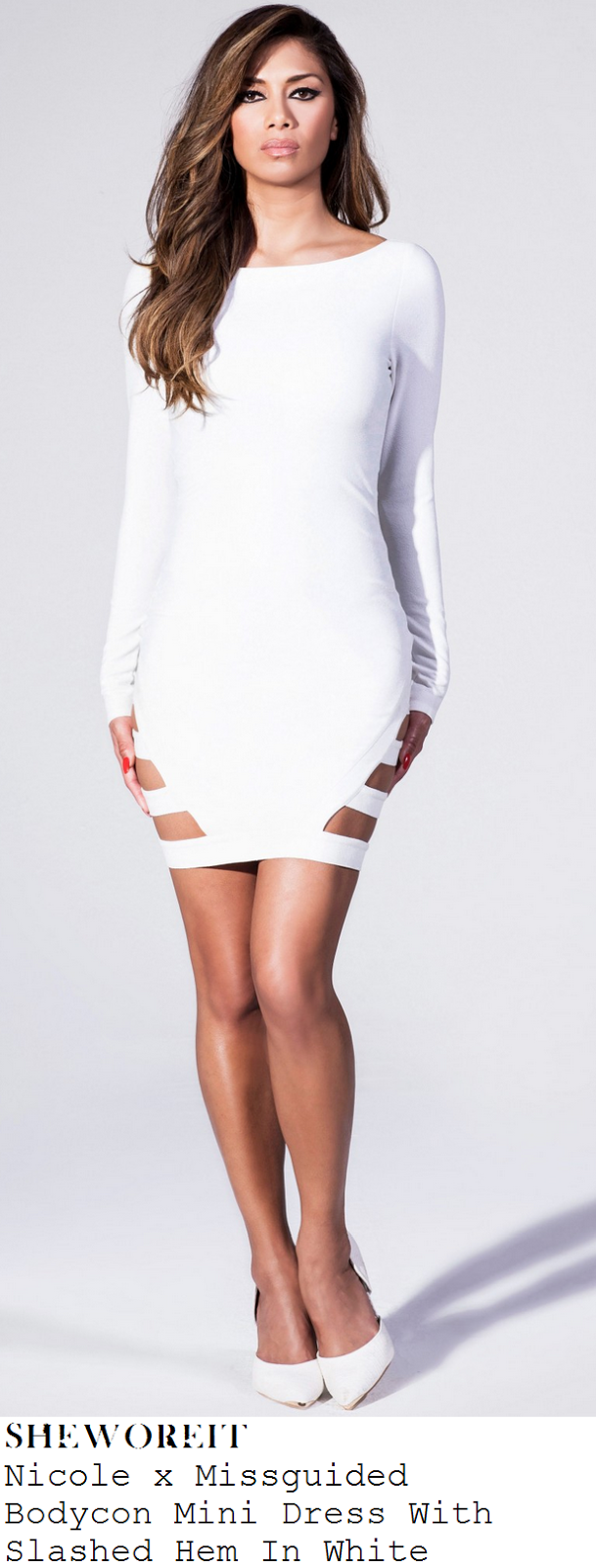 e0602fdef81d sheworeit: Sam Faiers' Nicole x Missguided Bright White Long ... Plunge  Bandage Bodycon Dress White. Approx length 92cm/36