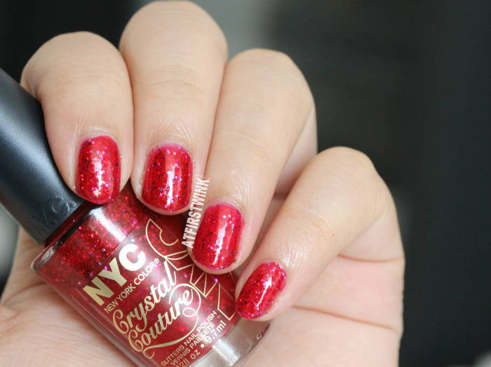 NYC Crystal Couture glitters nail polish 012 - Ruby Queen swatch