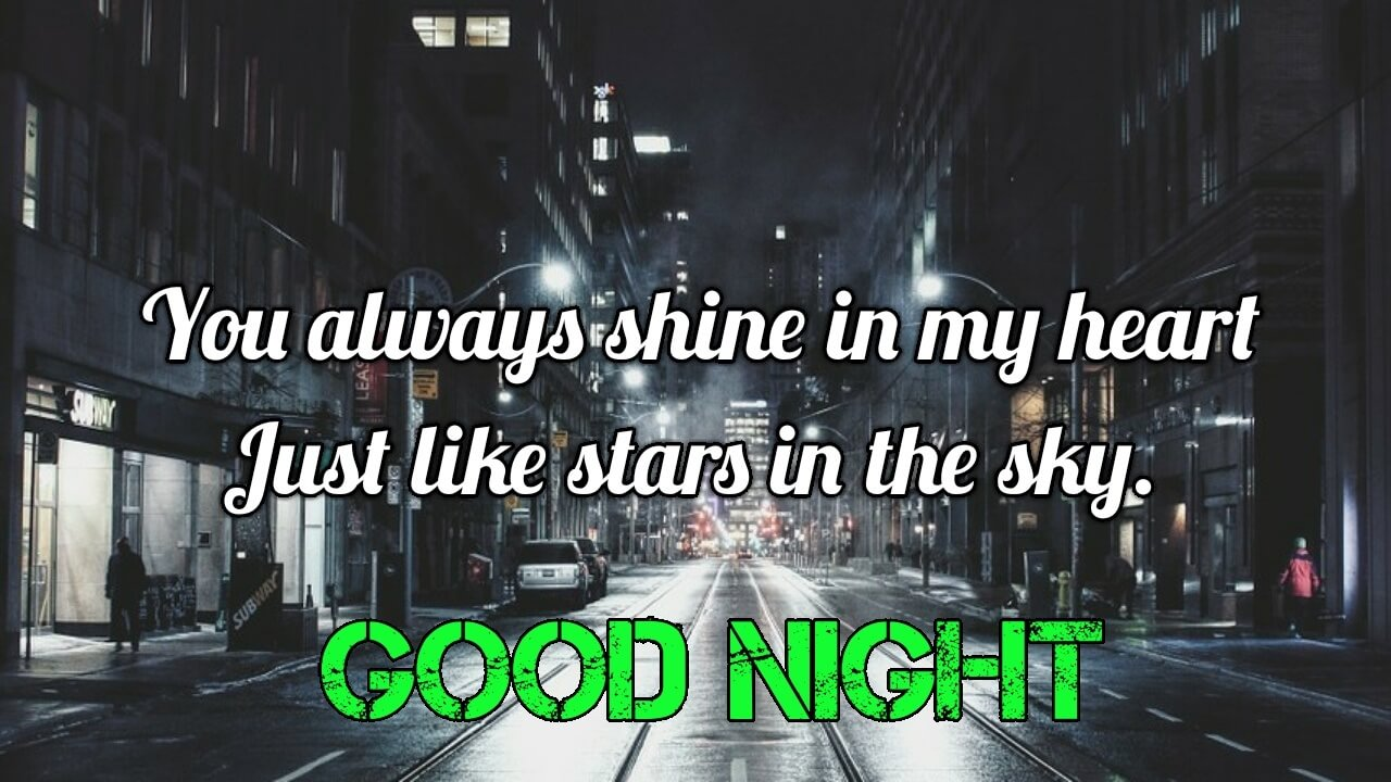 You always shine in my heart - Lovely & Romantic Good Night Love Image for Him