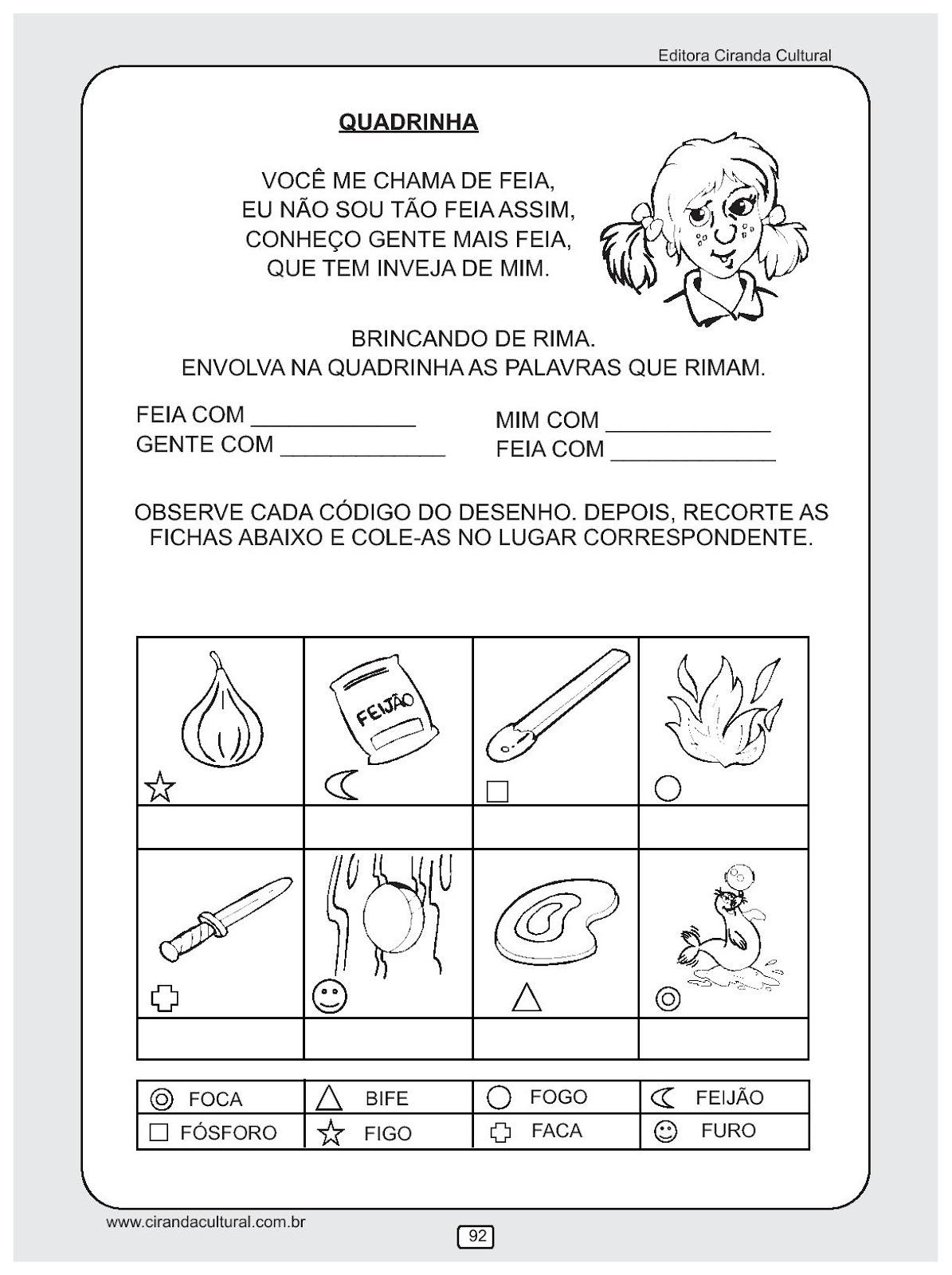 Educacao Infantil Atividades De Alfabetizacao Para Imprimir V