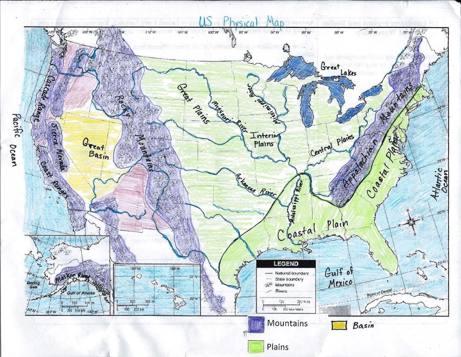 United States Physical Map Worksheet