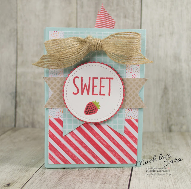 "A ""Sweet"" Handmade Giftbag Using Stampin Up Tasty Treat Papers and Cool Treats Stamps"