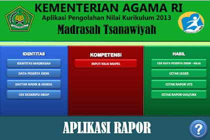 Download Aplikasi Rapor Untuk MTs Kurikulum 2013 Terbaru Format Microsoft Excel