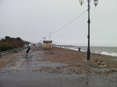 stones washed onto southsea promenade in stormy weather