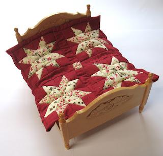 cream red dollhouse quilt