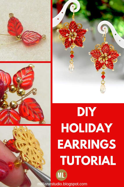 DIY poinsettia earrings tutorial sheet