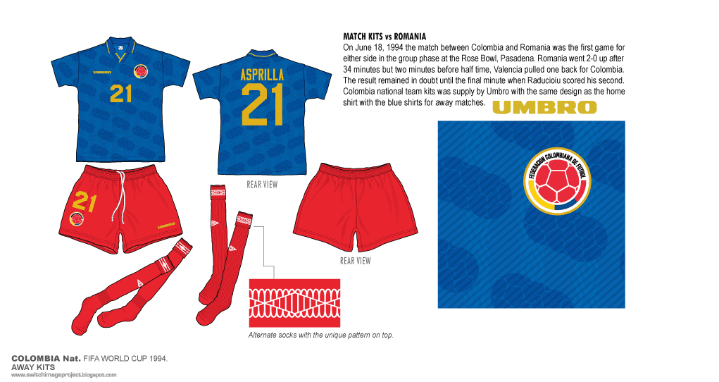 4a25a9bce1d Colombia national team kits was supply by Umbro with the same design as the home  shirt with the blue shirts for away matches.