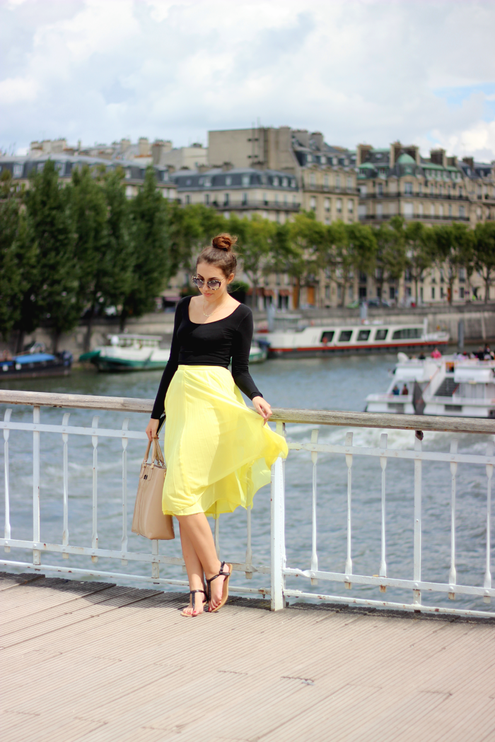 Paris France Fashion Blogger asos midi pleated yellow skirt