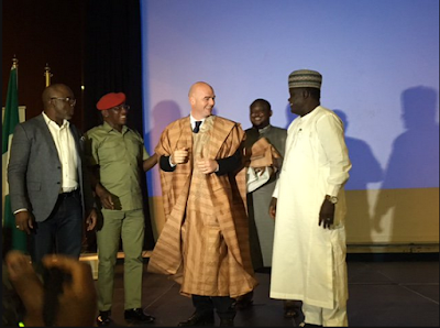 Checkout The Traditional Outfit FIFA President Wore For A Special Dinner In Abuja. Photos