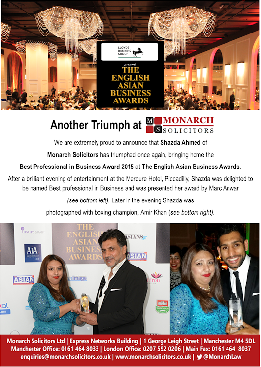 Best Professional in Business 2015 Award goes to Shazda Ahmed of Monarch Solicitors