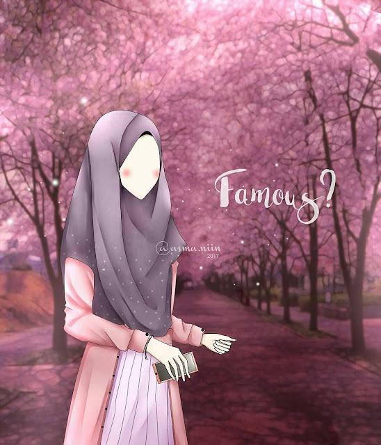 Wallpaper Hijab Muslimah Anime Mobile Handphone