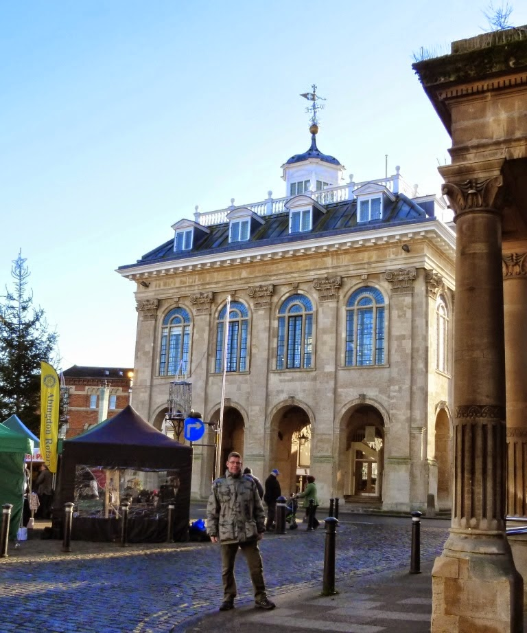 Outside the former County Hall in Abingdon-on-Thames. The building is now home to the town's museum, while the basement is a new cafe. The market place itself has not changed a great deal over the decades, illustrated by the postcards featured in my article