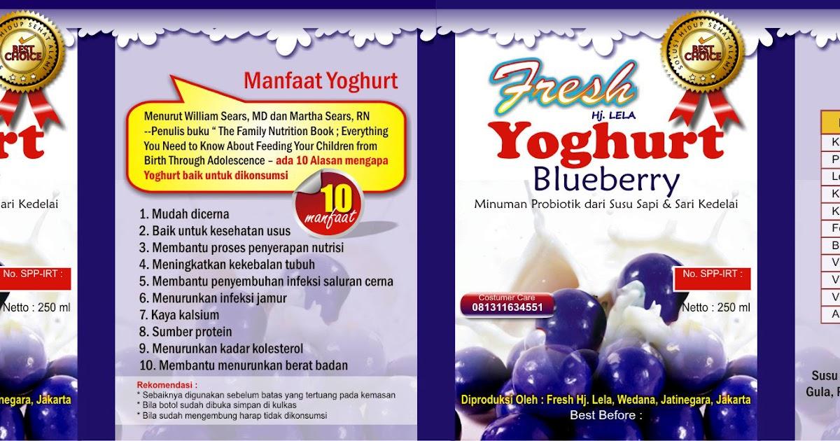 Desain Label Kemasan Yoghurt Rasa Blueberry - UMI HILWA