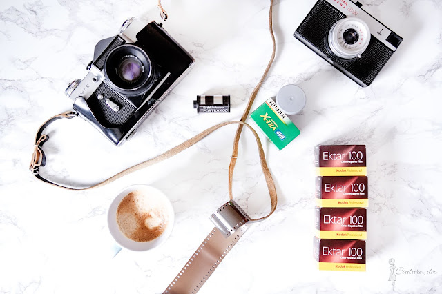 aparat analogowy, klisza kodak ektar, kawa
