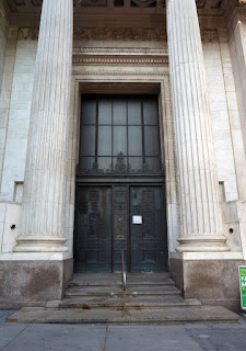Closeup of entrance of Dime Savings Bank in Downtown Brooklyn