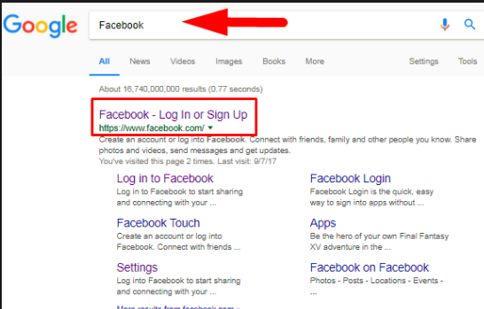 Login Facebook Google Search